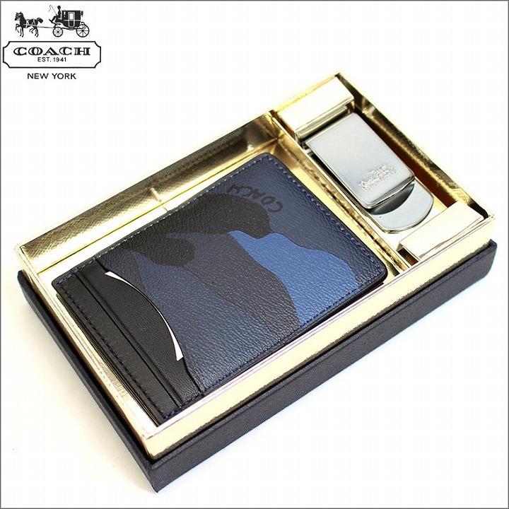 e4a761d11a72 ブランド:コーチ/COACH 商品:名刺入れ&マネークリップ品番:f22532dyb  カラー:迷彩ネイビー素材:レザー×メタルサイズ(約):名刺入れ:横幅:9.7cm 高さ:7.2cm ...