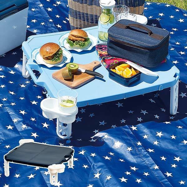 野餐桌休閒表合併可能杯架四個人(折疊桌戶外得心應手表運動會度假休閒)