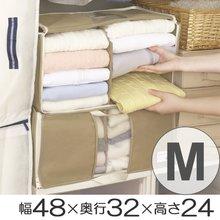 M 幅48×奥行32×高さ24cm がばっと収納袋 衣類収納袋 透明窓付き