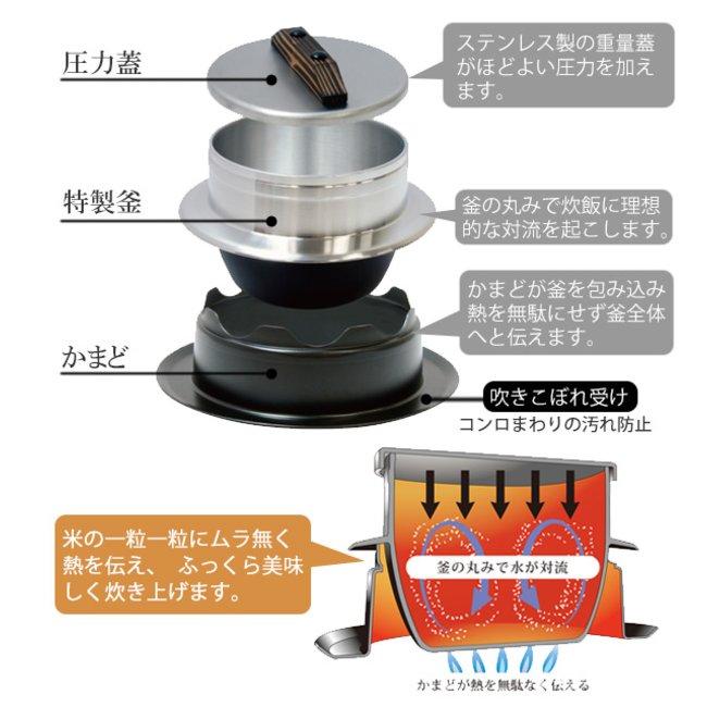 炊飯鍋 謹製 釜炊き三昧 3合炊き ガス火専用 日本製 UM ...