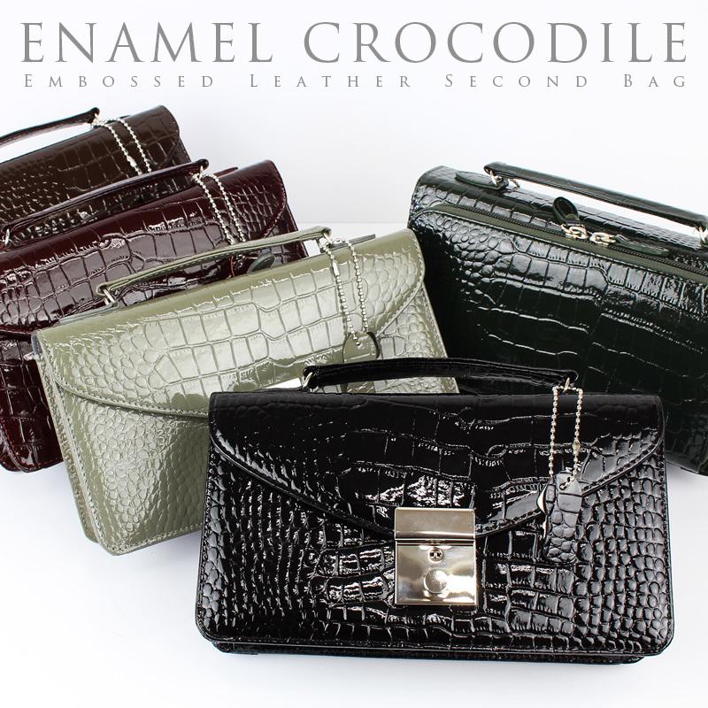7eba869bb5f6 セカンドバッグ メンズ エナメル調 クロコ型押しレザー 財布...|AS shop ...