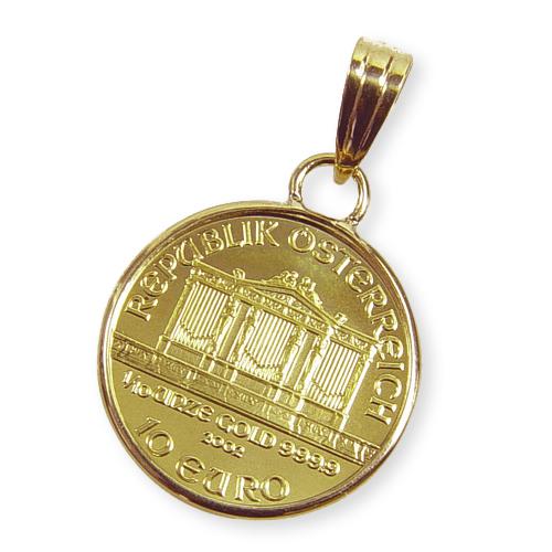 純金オーストリアハーモニー金貨(1/10oz)ペンダントトップ・コイン
