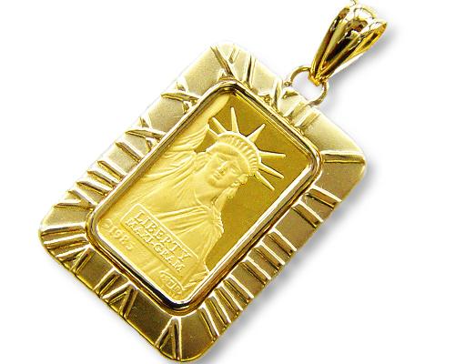 K18枠純金インゴットペンダント・5.0グラム純金自由の女神