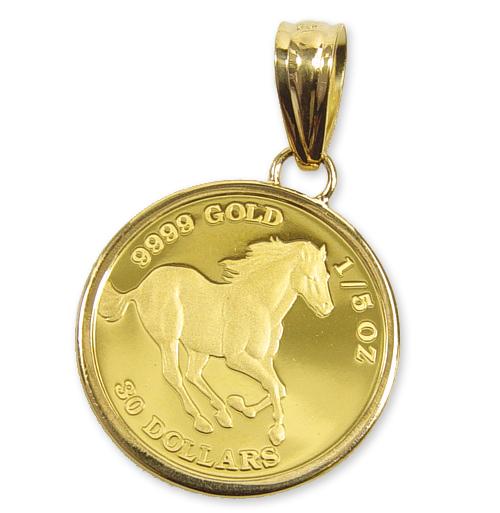 純金 ツバルホース【馬】金貨(1/5oz)ホースシューペンダントTOP