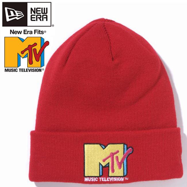 エムティーヴィー×ニューエラ ニットキャップ ベーシックカフニット マルチロゴ スカーレット ラディアントレッド Mtv×New Era Knit Cap Bacic Cuff Knit Multi Logo Scarlet
