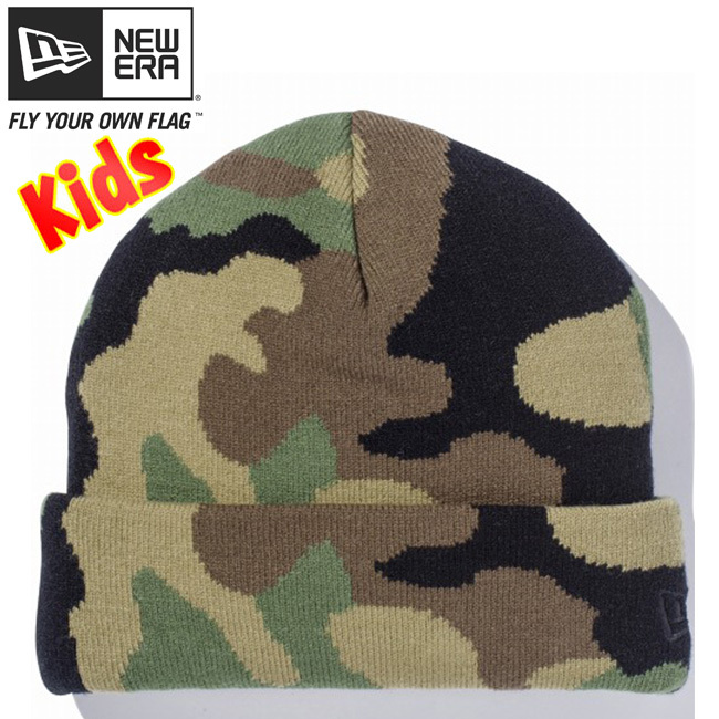 ニューエラ キッズニットキャップ ベーシックカフニット ウッドランドカモ ブラック New Era Kids Knit Cap Basic Cuff Knit Woodland Camo Black