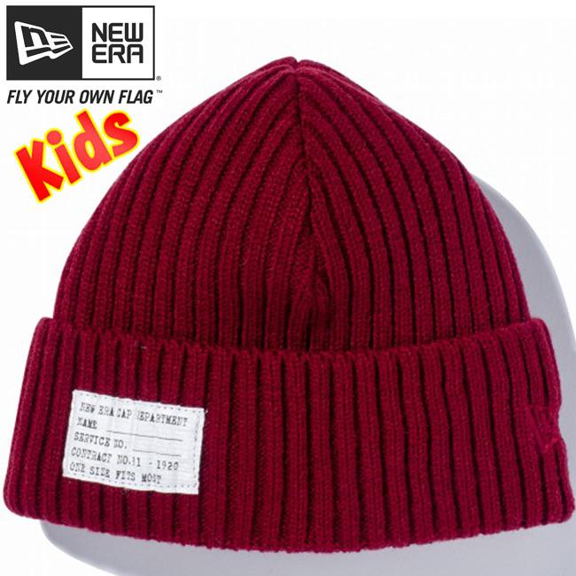ニューエラ キッズニットキャップ ミリタリーニット パッチ レッド レッド New Era Knit Cap Military Knit Patch Red Red