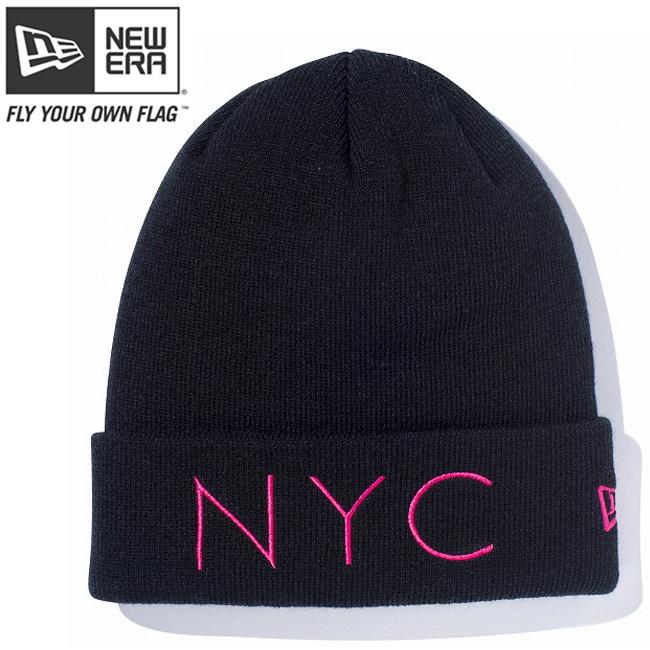 ニューエラ ニットキャップ ベーシックカフニット ニューヨークシティ ブラック ストロベリー ストロベリー New Era Knit Cap Basic Cuff New York City Black Strawberry Strawberry