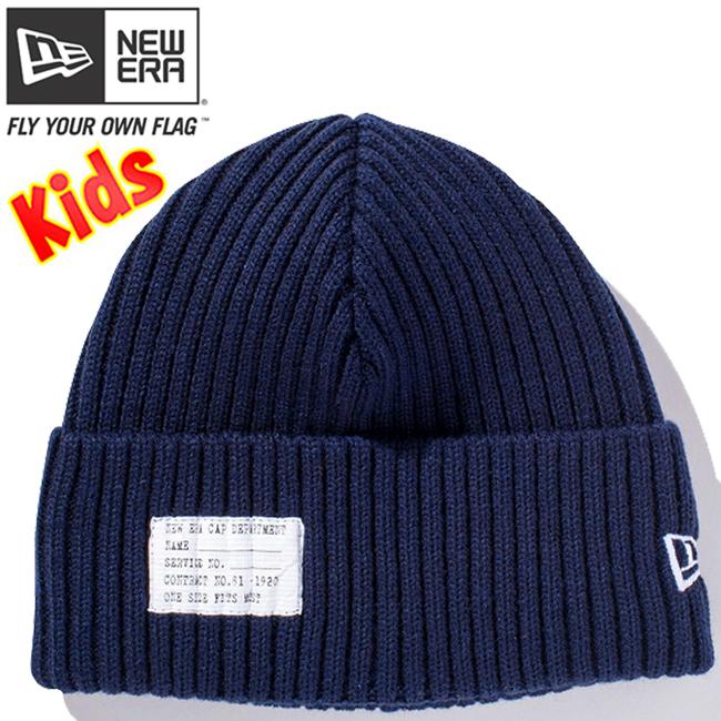 ニューエラ キッズニットキャップ ミリタリーニット パッチ ネイビー スノーホワイト New Era Kids Knit Cap Military Knit Patch Navy Snow White