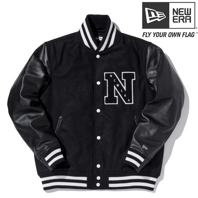 ニューエラ スタジアムジャケット エヌパッチ ブラック ブラック ブラック ホワイト ホワイト L