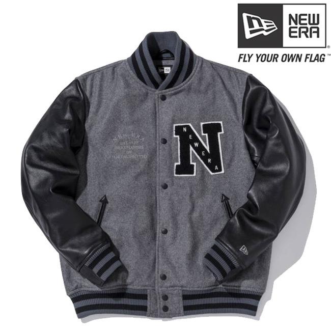 ニューエラ スタジアムジャケット エヌパッチ チャコール ブラック ブラック グレー グレー S