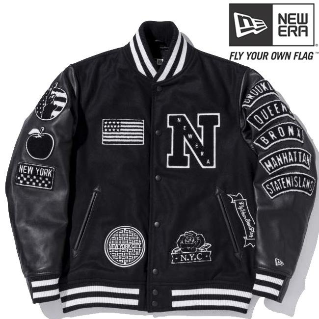 ニューエラ スタジアムジャケット フルパッチ ブラック ブラック ブラック ホワイト ホワイト L