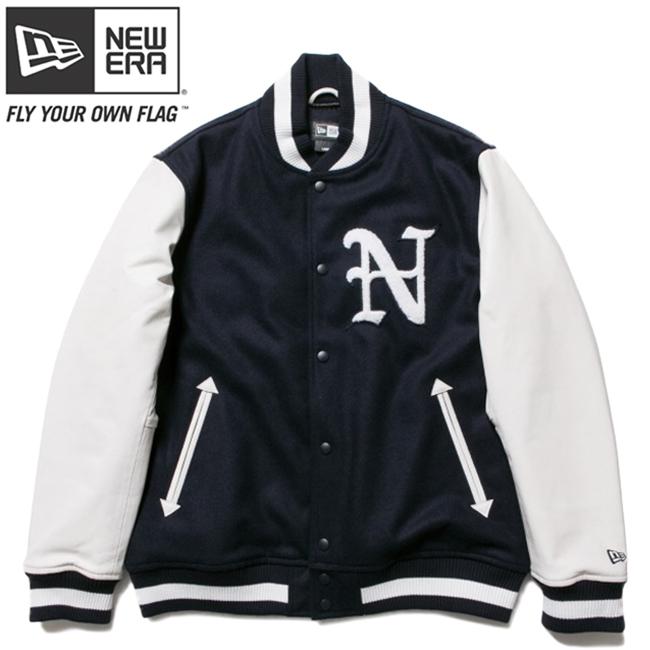 ニューエラ スタジアムジャケット N パッチ ネイビー ホワイト ホワイト ネイビー ネイビー XL