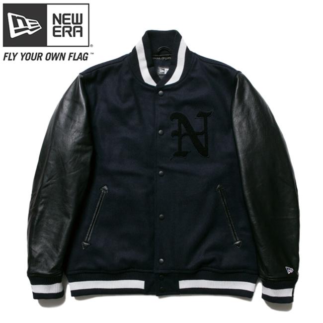 ニューエラ スタジアムジャケット N パッチ ネイビー ブラック ブラック ネイビー ホワイト M