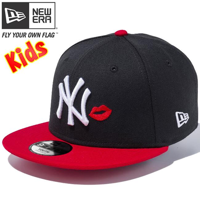 ニューエラ 950 スナップバック キッズ キャップ ニューヨークヤンキース リップ ブラック スカーレット