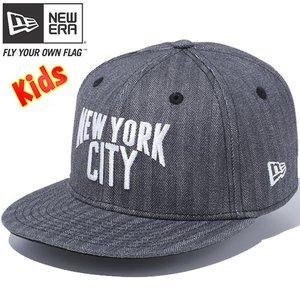 ニューエラ950 スナップバックキッズキャップニューヨークシティブラックヘリンボーンデニムスノーホワイトNew Era 9FIFTY Snap Back Kid