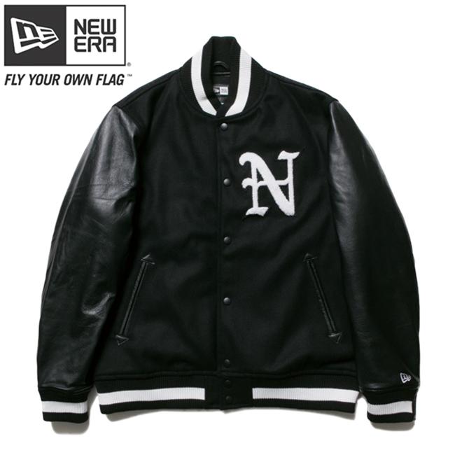 ニューエラ スタジアムジャケット N パッチ ブラック ブラック ホワイト ブラック ホワイト M