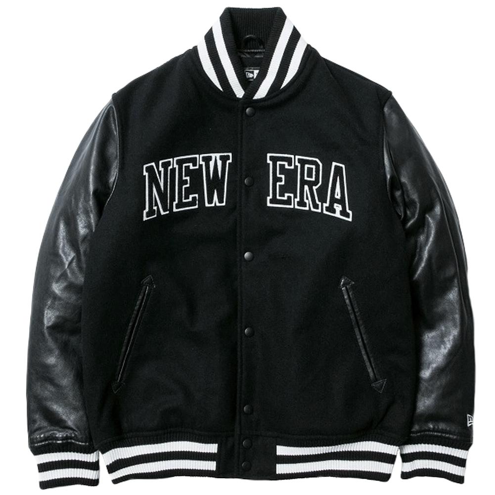 ニューエラ スタジアムジャケット メルトン レザー NEW ERA パッチ ブラック ホワイト ブラック ホワイト 2XL
