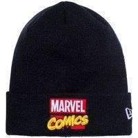 マーベル×ニューエラ ニットキャップ ベーシックカフニット マーベル・コミックロゴ ブラック マルチカラー スノーホワイト