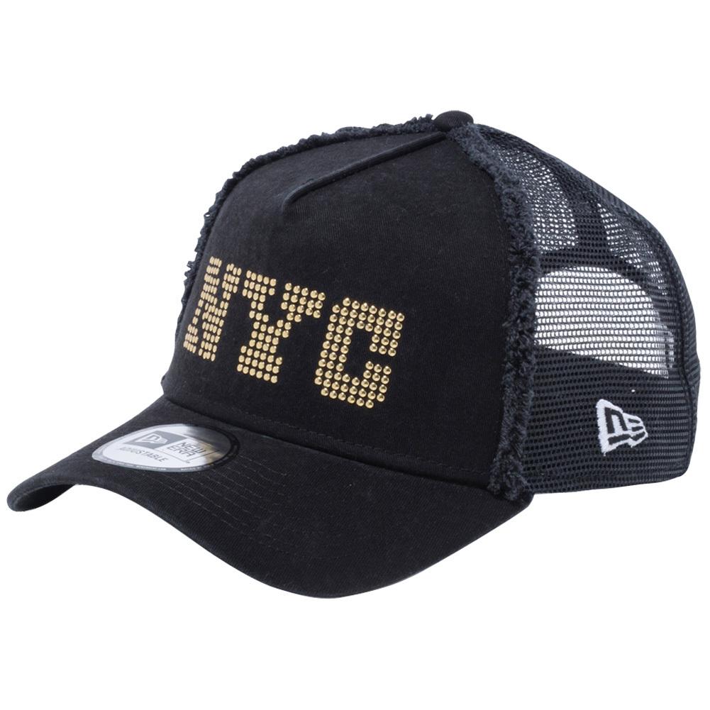 ニューエラ 940 スナップバック キャップ エーフレームトラッカー NYC ブラック ブラックメッシュ ゴールドスタッズ