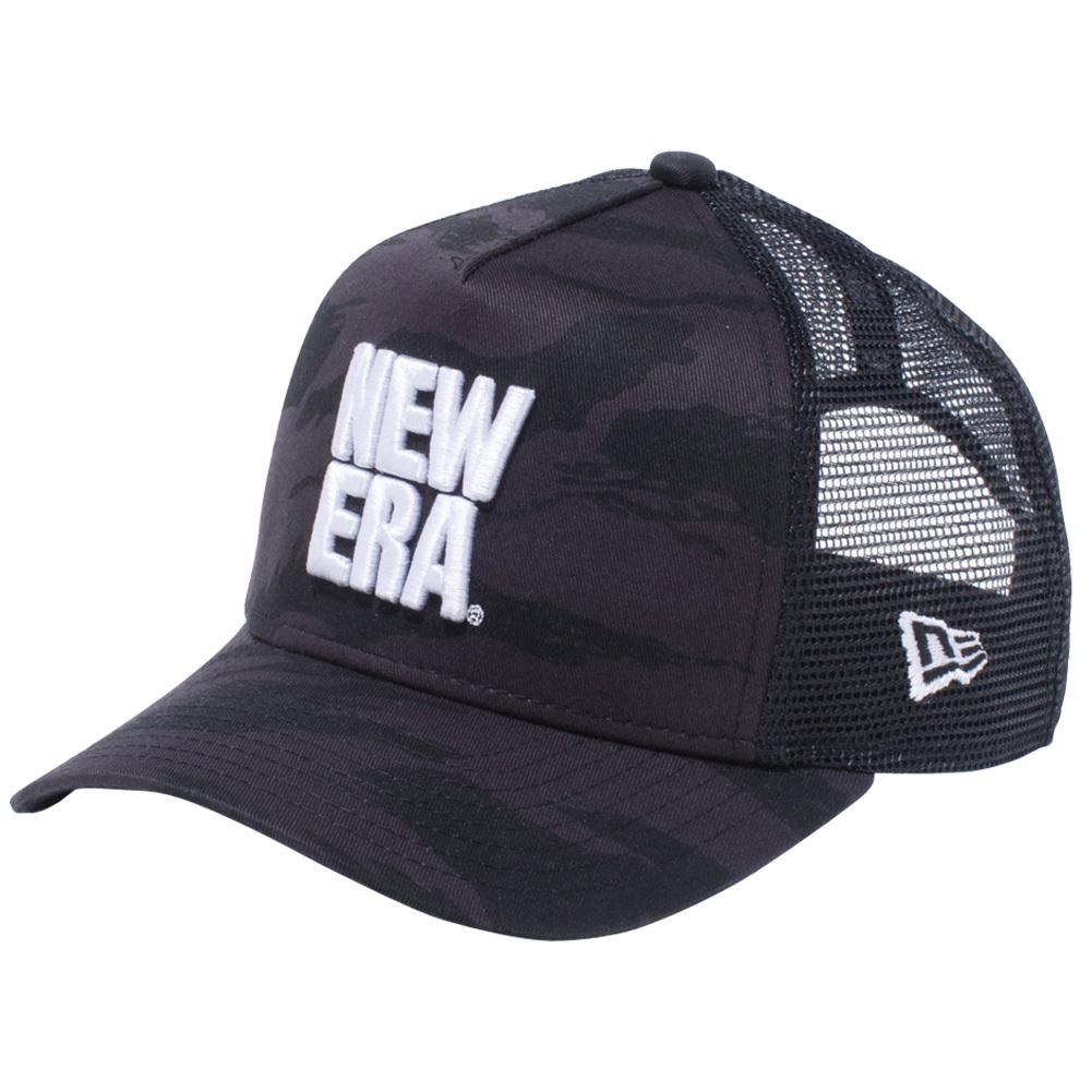 ニューエラ 940 スナップバック キッズ キャップ エーフレームトラッカー スクエア ニューエラ ロゴ ブラックタイガーストライプカモ ブラックメッシュ