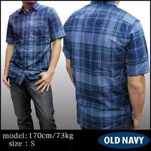 アメリカから直輸入 オールドネイビー メンズ シャツ ダークネイビー GAP OLD NAVY 半袖 チェックシャツ インポート カジュアル アメカジ スタイル アメリカンカジュアル ファッション ブランド 好きに♪