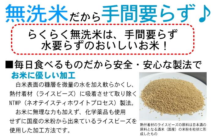 無洗米だから手間いらず熱付着材(ライスビーズ)を吸着させて取り除くNTWP(ネオテイスティホワイトプロセス)製法。