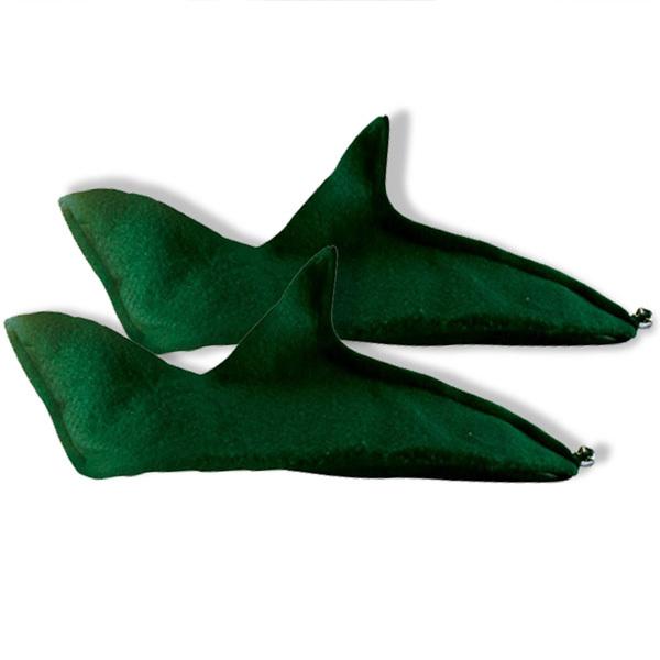 サンタクロースのお手伝いをする妖精・エルフの緑色の靴です。靴の先端に鈴付き。【素材】ポリエステル100% 【お手入れ方法】汚れた箇所のみ湿らせた布等で拭いて
