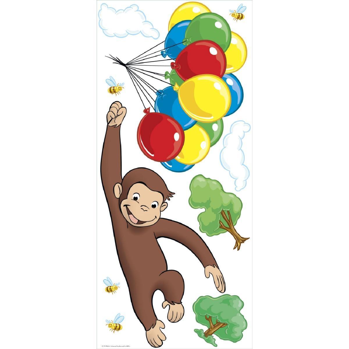 おさるのジョージ ジャイアント ウォール ステッカー 子供 部屋 猿 サル 通常便なら .