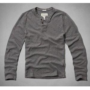 正規品 アバクロ メンズ ロンT 長袖 Tシャツ ワッフル サーマル abercrombie & fitch Schofield Cobble Waffle Henley 121-0262-012grey