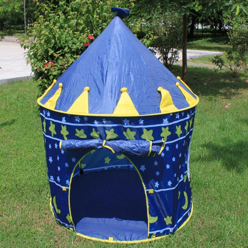 兒童/兒童城堡帳篷藍色[發送郵件,免運費,貨到付款]