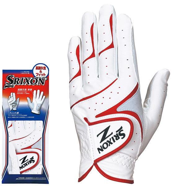 ダンロップ SRIXON スリクソン メンズ 高耐久性&フィット ゴルフグローブ GGG-S016 ホワイト/レッド