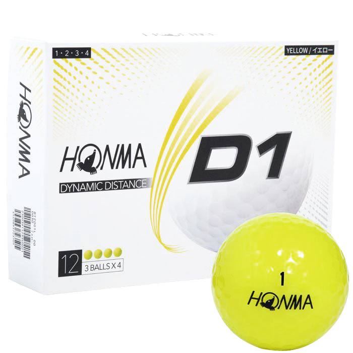 HONMA GOLF NEW D1 BALL YELLOW