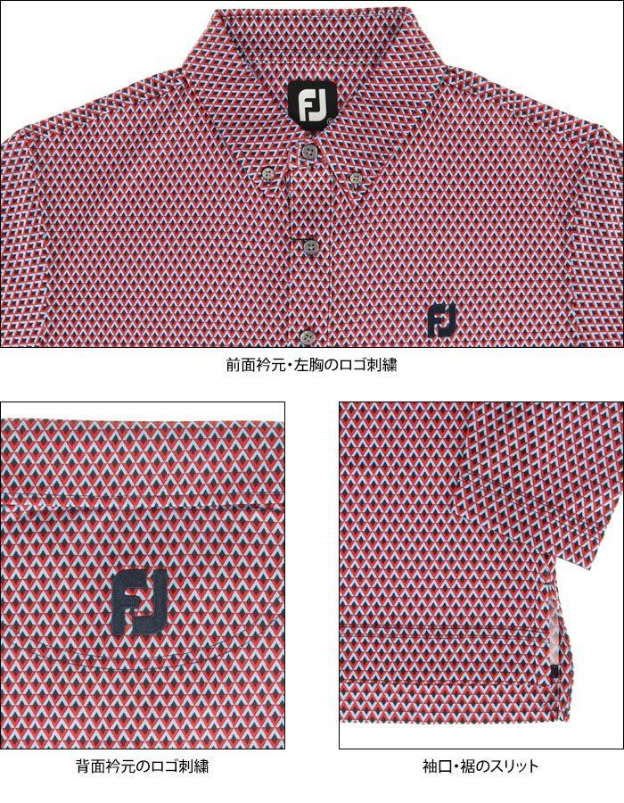 FootJoy GOLF ロゴ刺繍 ストレッチ 総柄 ダイヤプリント 長袖 ボタンダウン ポロシャツ view3