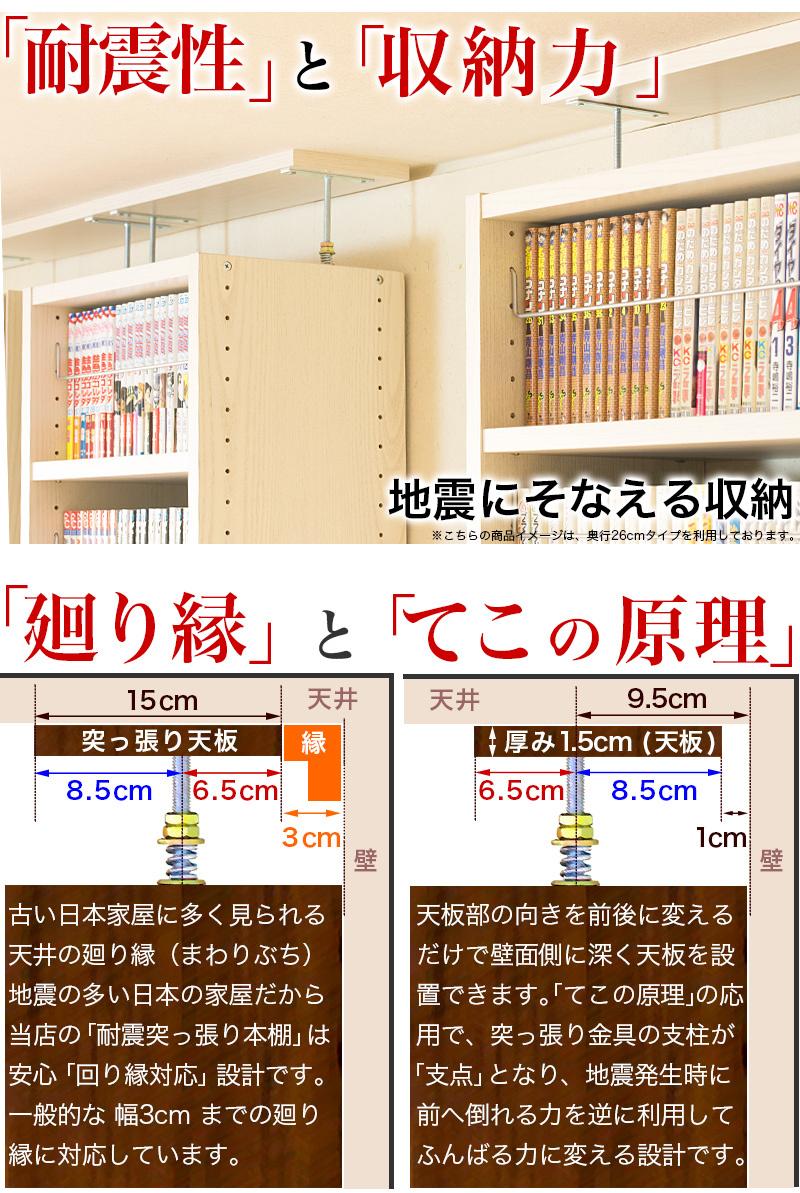 梃子の原理で倒れない本棚。廻り縁も対策済みで壁面収納に最適。