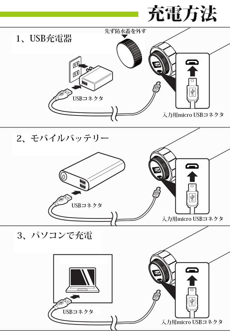 充電式携帯型LEDライト 防水 USB充電 マグネット 磁石付き 災害時 緊急時 作業灯 手持ち 蛍光灯 キャンプ アウトドア