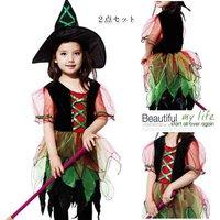 e5a0d25131eea 送料無料ハロウィン 衣装 子供 魔女 巫女 ウィッチ 悪魔 ワンピース 帽子付き 女の子 .
