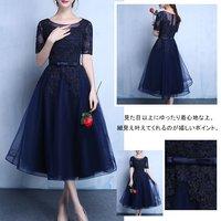送料無料 フレアドレス ロング 花飾りドレス 5分袖ドレス チュールワンピース .