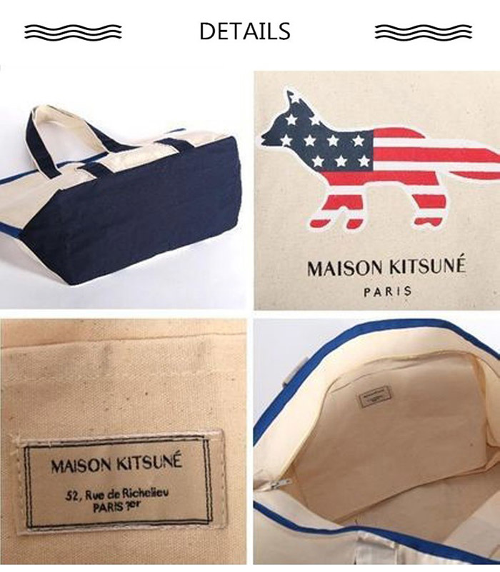 MAISON KITSUNE メゾンキツネ RICHELIEU TOTE BAG XL トートバッグ キャンバス ショッピングバッグ カラー エコバッグ ECRU-MARINEBLUE FW17U811 並行輸入