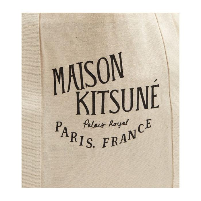 メゾンキツネ MAISON KITSUNE トートバッグ ナチュラル キャンバス ロゴ ユニセックス ショッピングバッグ AU05100AT1009 並行輸入