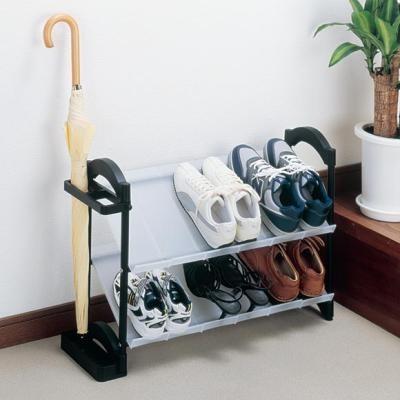 組立簡単!★傘立て付、シューズラック/伸縮タイプ(sn-GR-KBX)伸縮させて玄関のスペースにぴったり!3台までスタッキングできるのでたっぷり収納!ヒールやこども靴も収納!