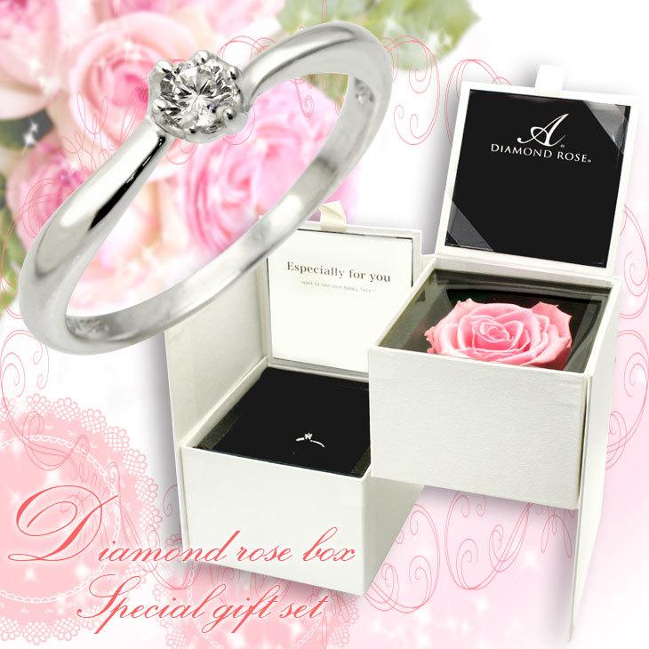 1粒キュービック ジルコニア リング ダイヤモンド ローズ ボックス セット 薔薇 女性 プレゼント